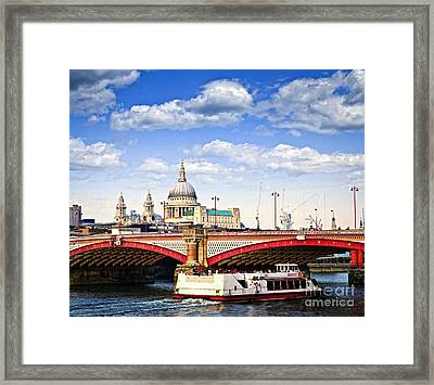Blackfriars Bridge And St. Paul's Cathedral In London Framed Print by Elena Elisseeva