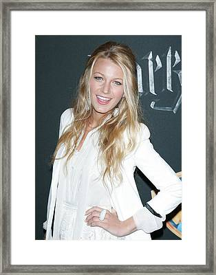 Blake Lively Wearing A Dolce & Gabbana Framed Print by Everett