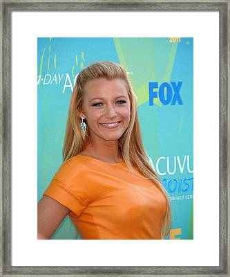 Blake Lively Wearing Lorraine Schwartz Framed Print by Everett
