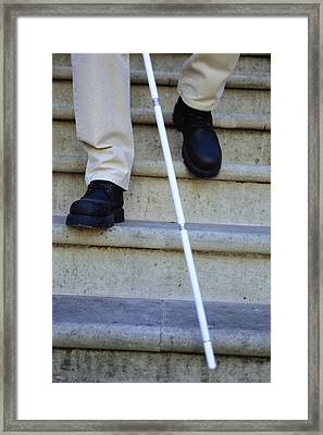 Blind Man Descending Stairs Framed Print by Cristina Pedrazzini