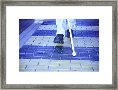 Blind Man On A Crossing Framed Print by Cristina Pedrazzini