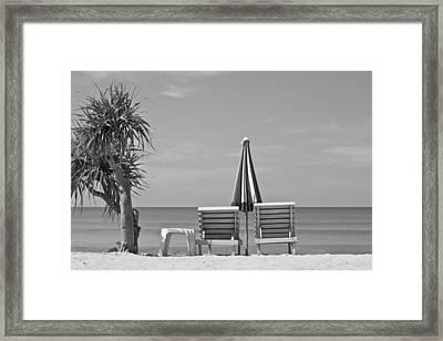 Bliss Is The Beach Framed Print by Georgia Fowler