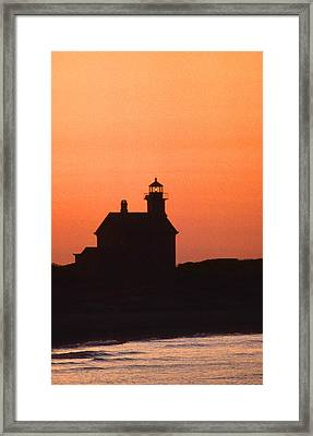 Block Island North West Lighthouse Sunset Framed Print by Skip Willits