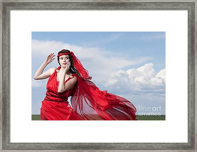 Blown Away Woman In Red Series Framed Print by Cindy Singleton