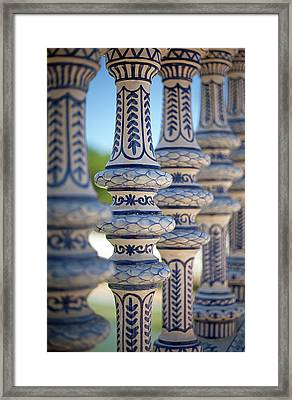 Blue And White Ceramic Fence Framed Print by Kim Haddon Photography