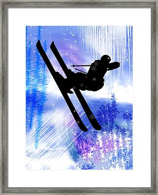 Blue And White Splashes With Ski Jump Framed Print by Elaine Plesser