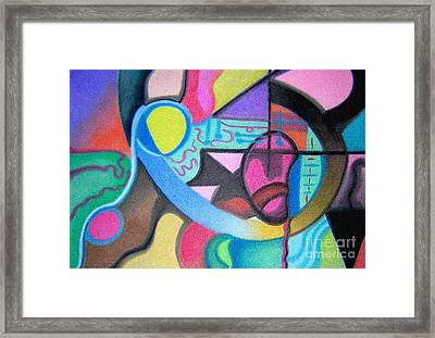 Blue And Yellow Curve Framed Print by Christine Perry