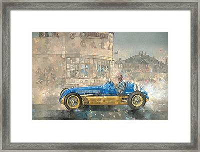 Blue And Yellow Maserati Of Bira  Framed Print by Peter Miller