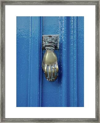 Blue Door With Brass Hand Knocker, France Framed Print by Jennifer Steen Booher