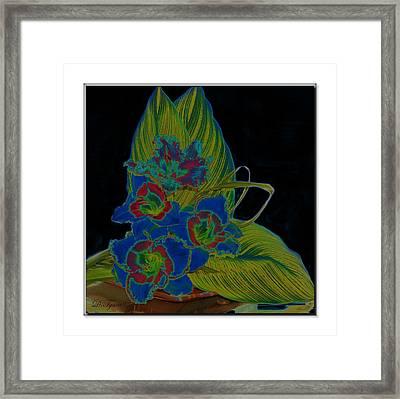 Blue Floral  Framed Print by Diana  Tyson
