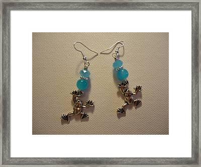 Blue Frog Earrings Framed Print by Jenna Green