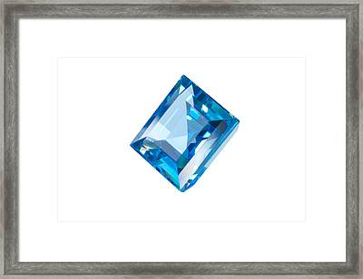 Blue Gem Isolated Framed Print by Atiketta Sangasaeng