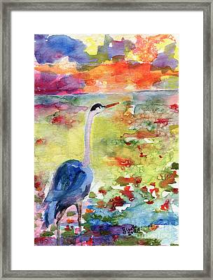 Blue Heron Sunset Watercolor By Ginette Framed Print by Ginette Callaway