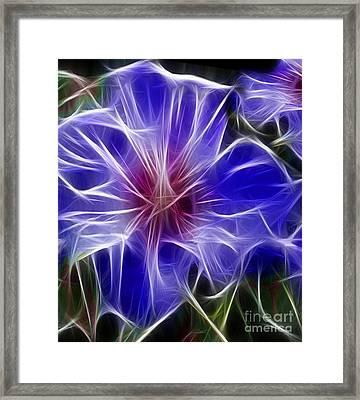 Blue Hibiscus Fractal Panel 3 Framed Print by Peter Piatt