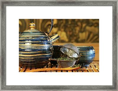 Blue Japanese Teapot Framed Print by Sandra Cunningham