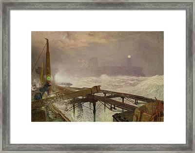 Blue Lights - Teignemouth Pier Framed Print by Alfred William Hunt