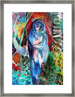 Blue Madonna Framed Print by Mindy Newman