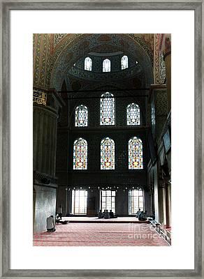 Blue Mosque Prayers Framed Print by Leslie Leda