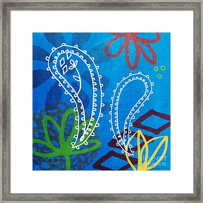 Blue Paisley Garden Framed Print by Linda Woods