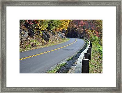 Blue Ridge Parkway Autumn Road Framed Print by Bruce Gourley