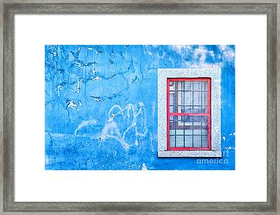 Blue Wall And Window With Red Frame Framed Print by Silvia Ganora