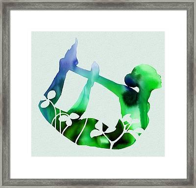 Blue Yoga Card Framed Print by Dana Vogel