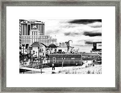 Boardwalk Casinos Framed Print by John Rizzuto