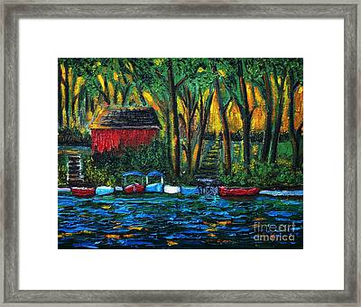 Boat Dock In The Evening Framed Print by Reb Frost