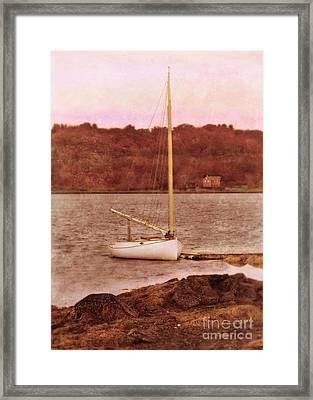 Boat Docked On The River Framed Print by Jill Battaglia