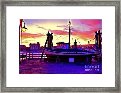 Boat On Santa Cruz Wharf Framed Print by Garnett  Jaeger