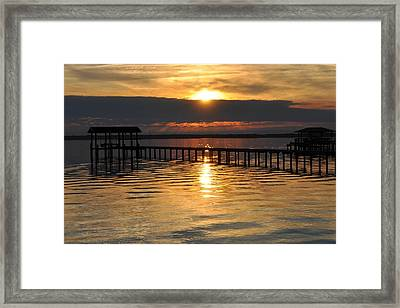 Boathouses At Sunset Framed Print by Tiffney Heaning