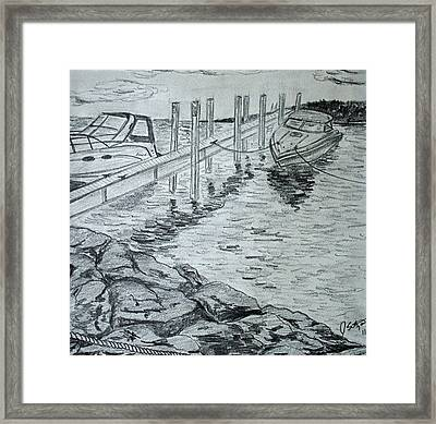 Boats By Mackinac Framed Print by Jason Sotzen
