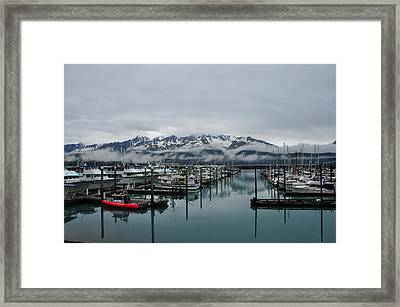 Boats In Marina With Snow Capped Framed Print by Jorge Fajl