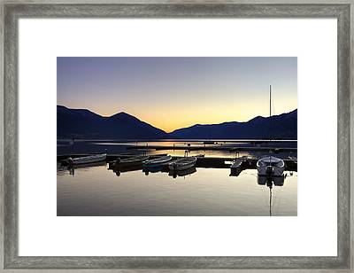 Boats In The Sunset Framed Print by Joana Kruse