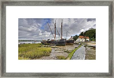 Boats On The Hard At Pin Mill Framed Print by Gary Eason