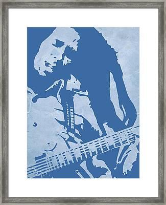 Bob Marley Blue Framed Print by Naxart Studio