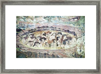 Boiling In Hell, 14th Century Fresco Framed Print by Sheila Terry