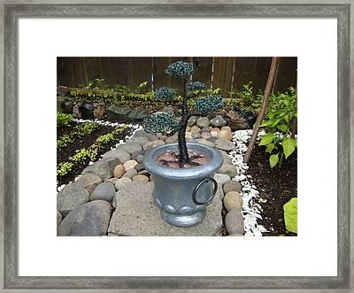 Bonsai Tree Medium Silver Vase Framed Print by Scott Faucett