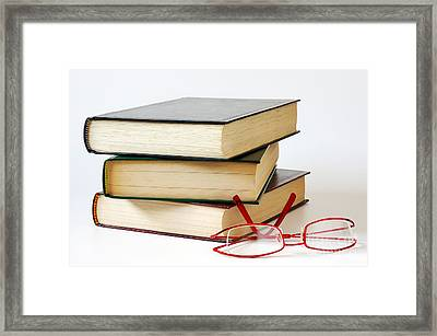 Books And Glasses Framed Print by Carlos Caetano