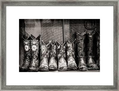 Boots Framed Print by Sherry Davis