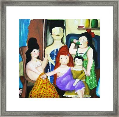 Botero Style Family Framed Print by Vickie Meza