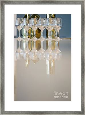 Bottle Of Wine And Glasses On Counter Framed Print by Shannon Fagan