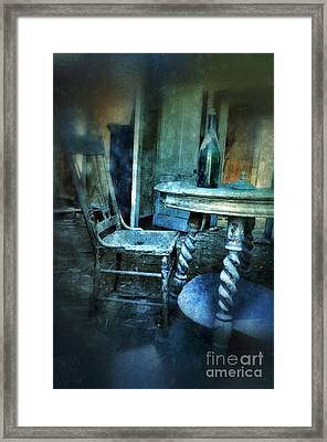 Bottle On Table In Abandoned House Framed Print by Jill Battaglia