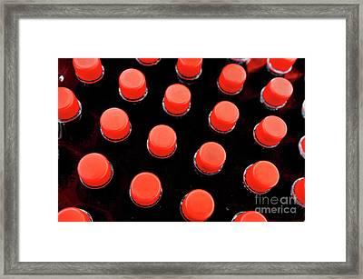 Bottles Red Caps Framed Print by Sami Sarkis
