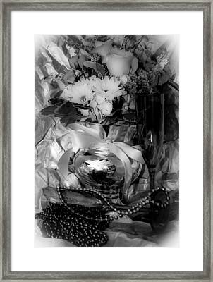 Bouquet And Beads Bw Framed Print by DigiArt Diaries by Vicky B Fuller