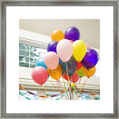 Bouquet Of Balloons Indoors Framed Print by Andersen Ross