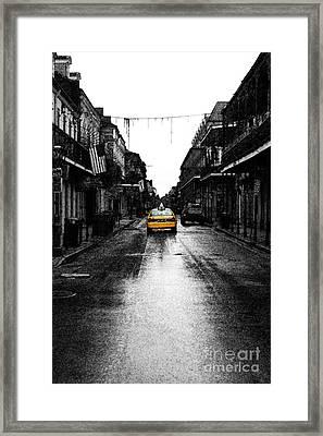 Bourbon Street Taxi French Quarter New Orleans Color Splash Black And White Fresco Digital Art Framed Print by Shawn O'Brien