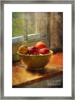 Bowl Of Fruit On Window Sill Framed Print by Jill Battaglia