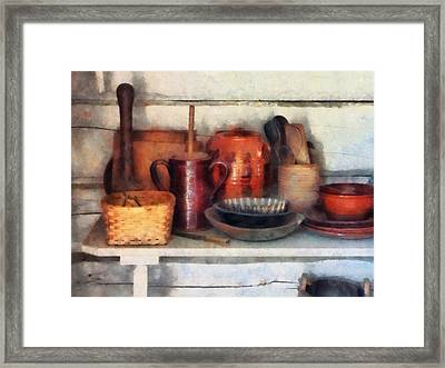 Bowls Basket And Wooden Spoons Framed Print by Susan Savad