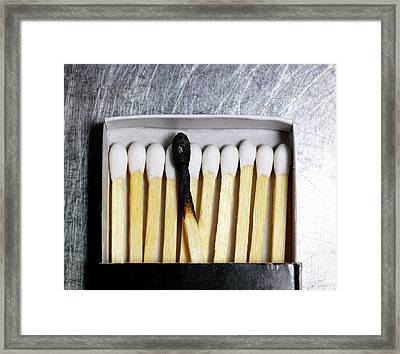 Box Of Wooden Matches With One Burned Match. Framed Print by Ballyscanlon